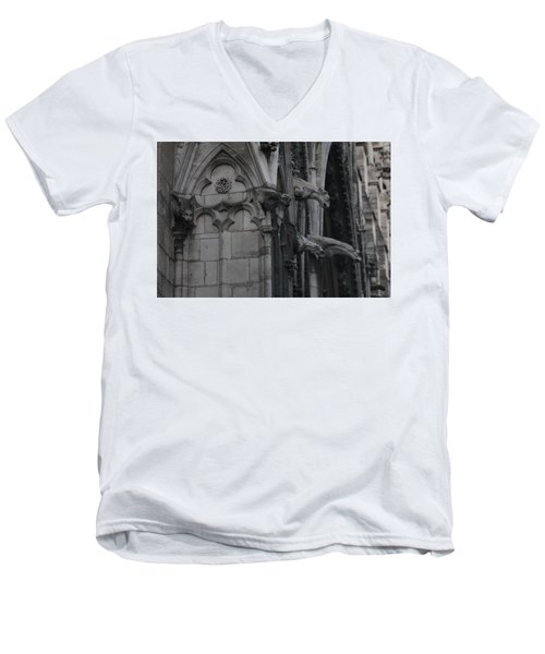 North Side Notre Dame Cathedral Men's V-Neck T-Shirt by Christopher Kirby