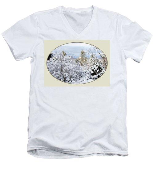 northeast USA photography button Men's V-Neck T-Shirt by Lise Winne