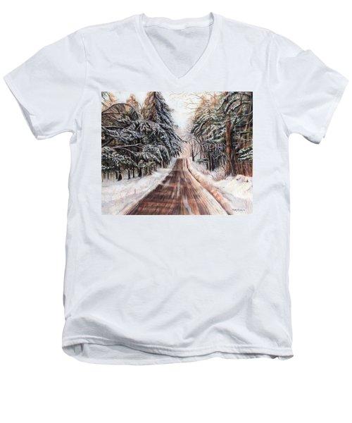 Northeast Winter Men's V-Neck T-Shirt by Shana Rowe Jackson