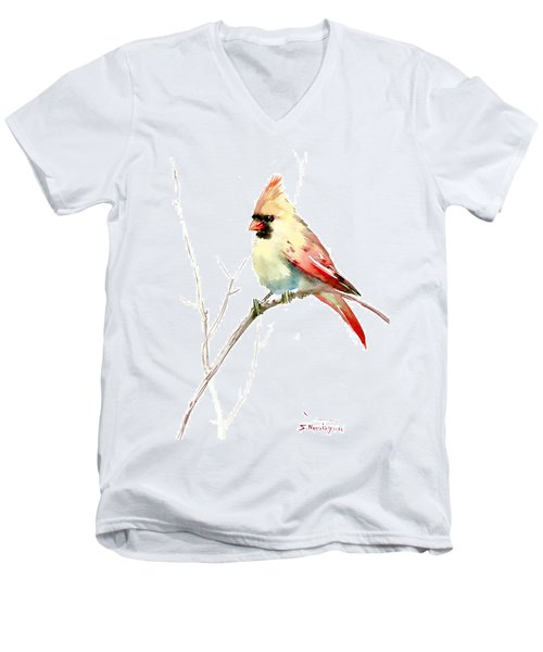 Northern Cardinal,female Men's V-Neck T-Shirt by Suren Nersisyan