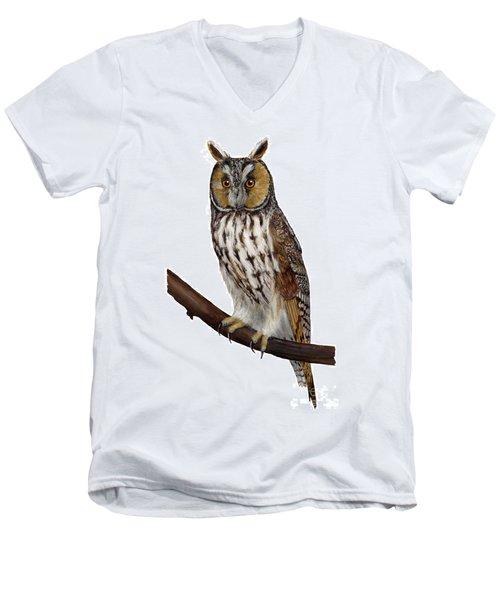 Northern Long-eared Owl Asio Otus - Hibou Moyen-duc - Buho Chico - Hornuggla - Nationalpark Eifel Men's V-Neck T-Shirt