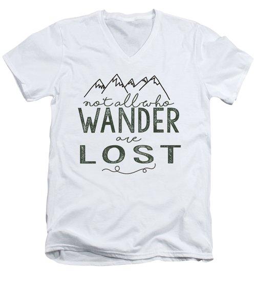 Not All Who Wander Green Men's V-Neck T-Shirt