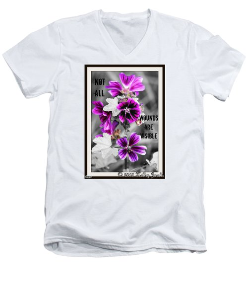 Not All Wounds Men's V-Neck T-Shirt by Holley Jacobs