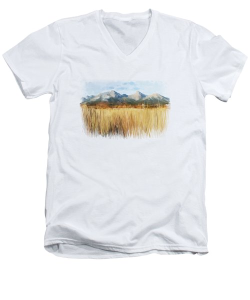 Men's V-Neck T-Shirt featuring the painting Not Far Away by Ivana Westin