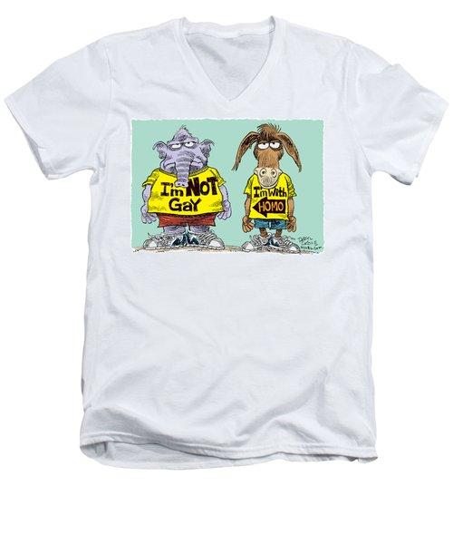 Not Gay Men's V-Neck T-Shirt