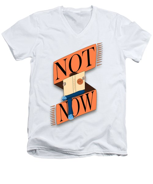 Not Now, I'm Reading Men's V-Neck T-Shirt