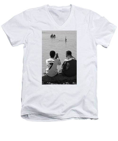 Men's V-Neck T-Shirt featuring the photograph Not Waving But Drowning by Jez C Self