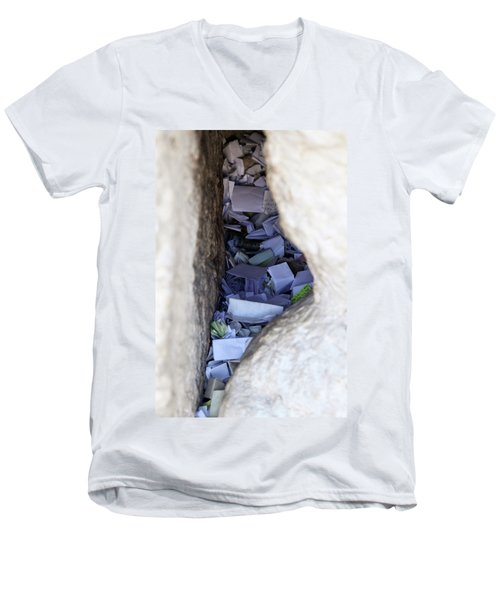 Notes In The Wailing Wall  Men's V-Neck T-Shirt by Yoel Koskas
