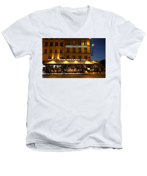 Men's V-Neck T-Shirt featuring the photograph Notre Dame Cafe by Andrew Fare