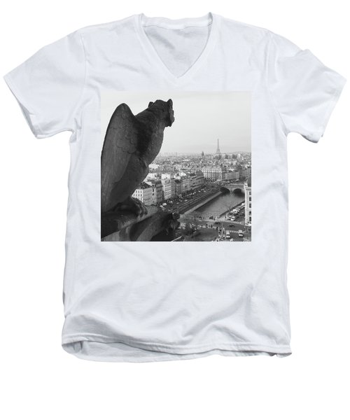Men's V-Neck T-Shirt featuring the photograph Notre Dame Gargoyle by Victoria Lakes