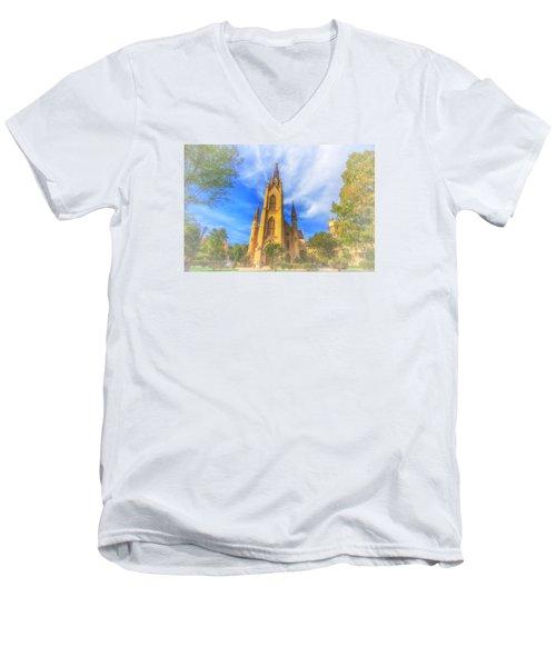 Notre Dame University 5 Men's V-Neck T-Shirt by David Haskett