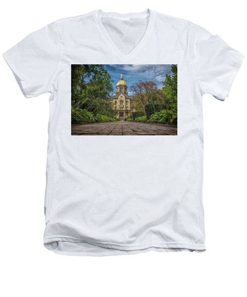 Men's V-Neck T-Shirt featuring the photograph Notre Dame University Q1 by David Haskett