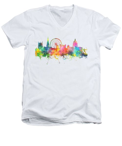 Nottingham  England Skyline Men's V-Neck T-Shirt by Marlene Watson
