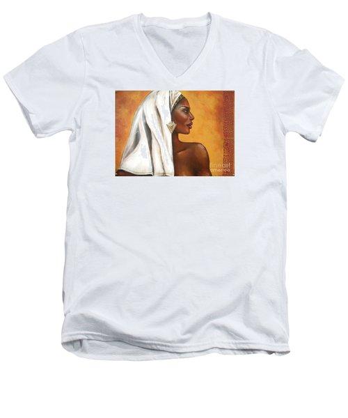 Men's V-Neck T-Shirt featuring the painting Nubian Beauty by Alga Washington