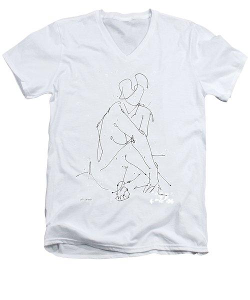 Nude-female-drawing-19 Men's V-Neck T-Shirt