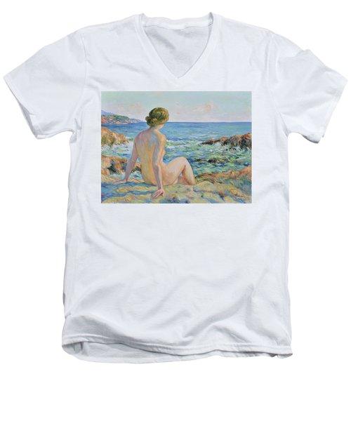 Nude On The Coast Monaco Men's V-Neck T-Shirt