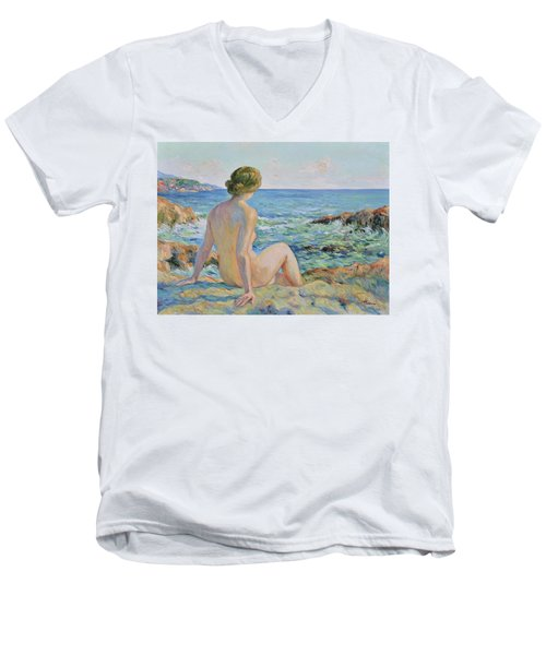 Nude On The Coast Monaco Men's V-Neck T-Shirt