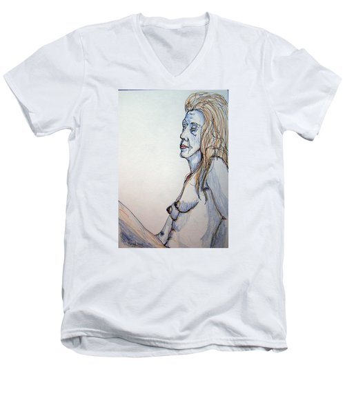 Nude With Blues Men's V-Neck T-Shirt by Rand Swift