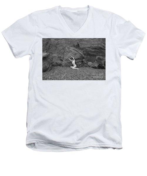 Nude Woman Pulling Shape By Rocks Men's V-Neck T-Shirt