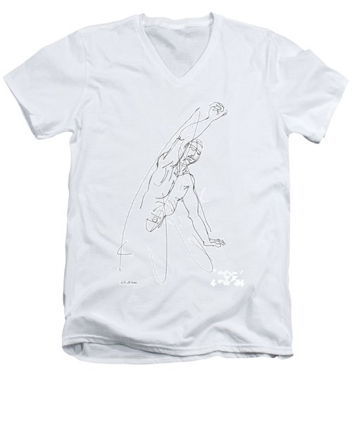 Nude_male_drawing_25 Men's V-Neck T-Shirt