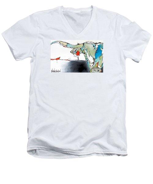 Number 17 Longhorn Steer Men's V-Neck T-Shirt by Nicole Gaitan
