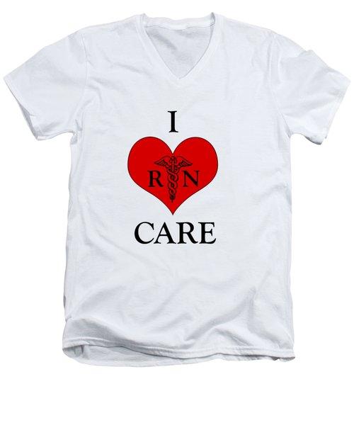 Nursing I Care -  Red Men's V-Neck T-Shirt