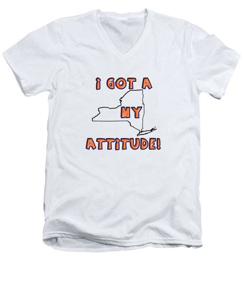 Ny Attitude-mets Colors Men's V-Neck T-Shirt by Judy Hall-Folde