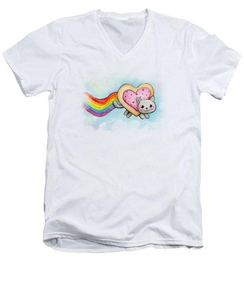 Nyan Cat Valentine Heart Men's V-Neck T-Shirt