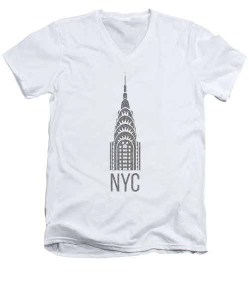 Nyc New York City Graphic Men's V-Neck T-Shirt by Edward Fielding