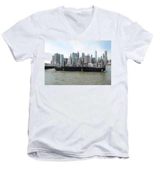 Nyc Skyline Men's V-Neck T-Shirt by Michael Paszek