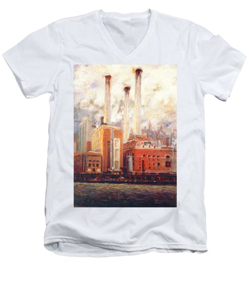 Men's V-Neck T-Shirt featuring the painting Nyc- View From East River  by Walter Casaravilla