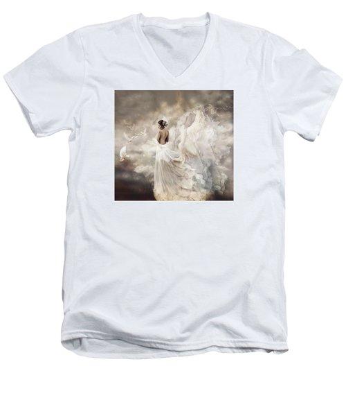 Nymph Of The Sky Men's V-Neck T-Shirt by Lilia D