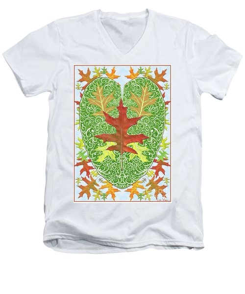 Oak Leaf In A Heart Men's V-Neck T-Shirt by Lise Winne