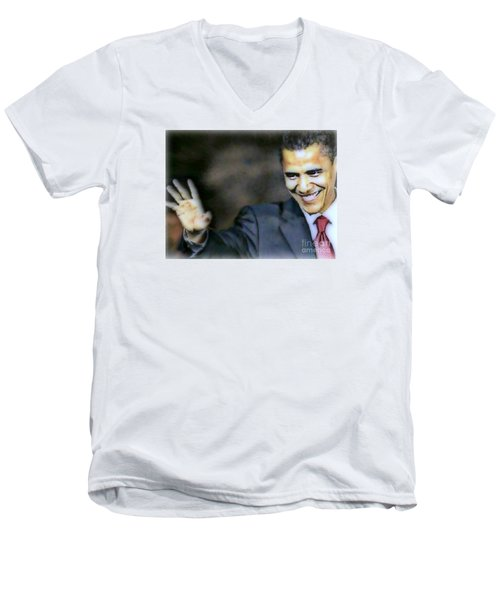 Obama Men's V-Neck T-Shirt by Wbk