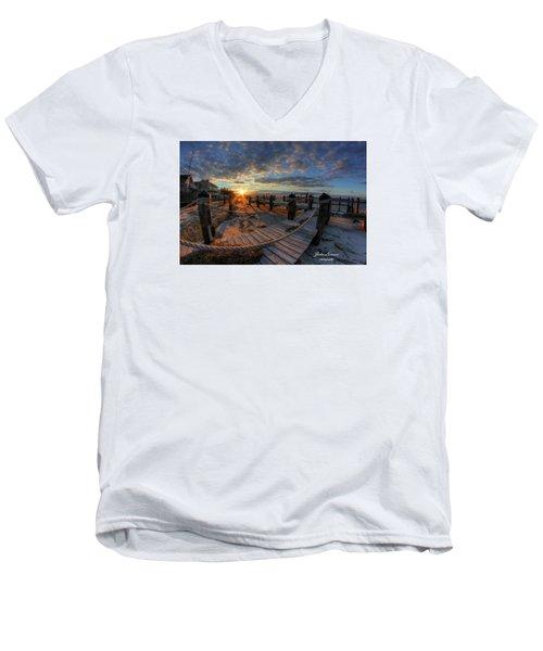 Oc Bay Sunset Men's V-Neck T-Shirt by John Loreaux