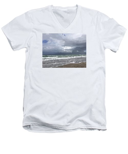 Ocean And Clouds Over Beach At Hobe Sound Men's V-Neck T-Shirt