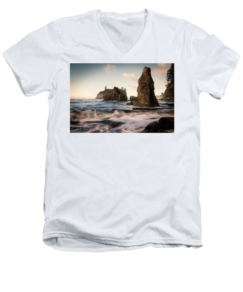 Men's V-Neck T-Shirt featuring the photograph Ocean Spire Signature Series by Chris McKenna
