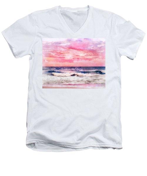 Ocean Sunrise Men's V-Neck T-Shirt by Francesa Miller