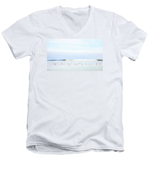Ocean View With Seagulls Men's V-Neck T-Shirt by Theresa Tahara
