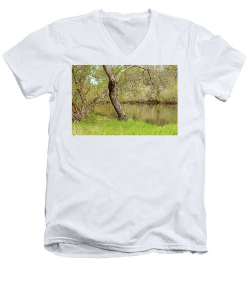 Men's V-Neck T-Shirt featuring the photograph Oceano Lagoon by Art Block Collections