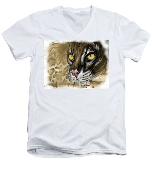 Ocelot Men's V-Neck T-Shirt by Darren Cannell