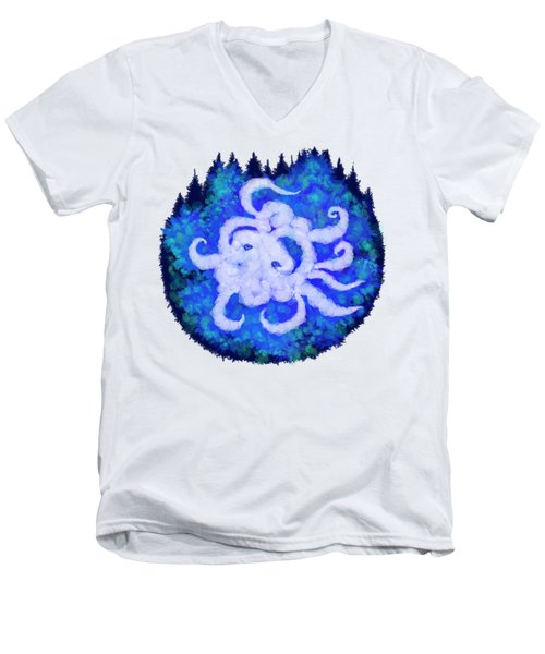 Octopus And Trees Men's V-Neck T-Shirt by Adria Trail