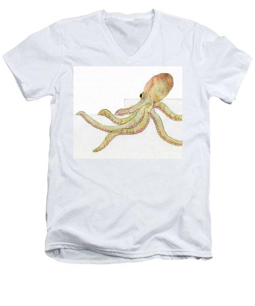 Men's V-Neck T-Shirt featuring the painting Octopus by Annemeet Hasidi- van der Leij