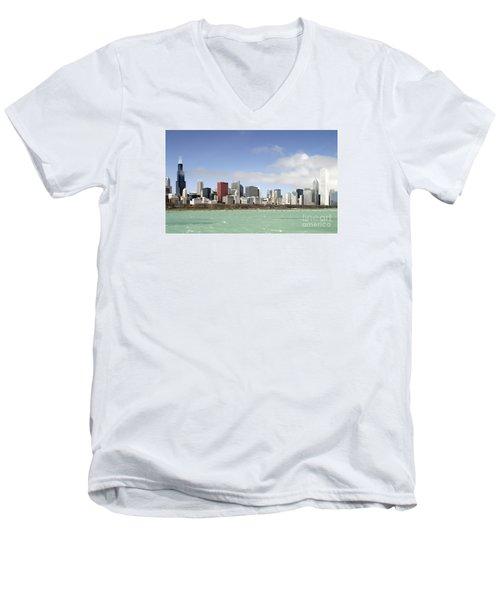 Off The Shore Of Chicago Men's V-Neck T-Shirt by Ricky L Jones