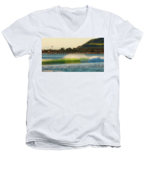 Men's V-Neck T-Shirt featuring the photograph Offshore Wind Wave And Ventura, Ca Pier by John A Rodriguez