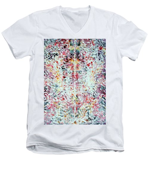 Men's V-Neck T-Shirt featuring the painting 10-offspring While I Was On The Path To Perfection 10 by Parijoy Swami Tapasyananda