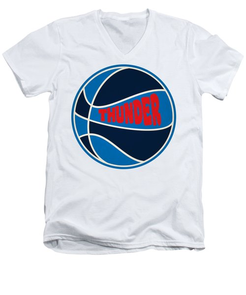 Men's V-Neck T-Shirt featuring the photograph Oklahoma City Thunder Retro Shirt by Joe Hamilton
