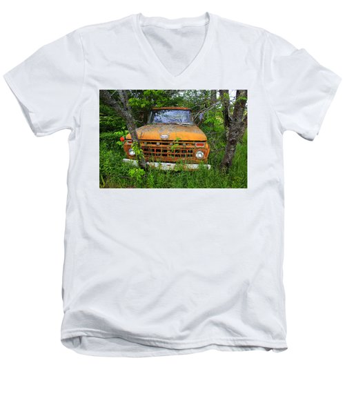 Old Abandoned Ford Truck In The Forest Men's V-Neck T-Shirt