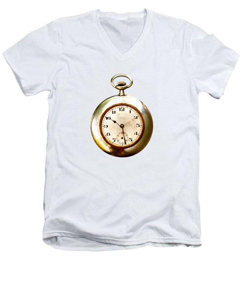 Men's V-Neck T-Shirt featuring the photograph Old And Used Pocket Clock Om White Background by Michal Boubin