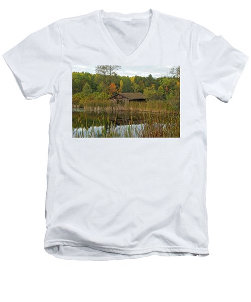 Old Bait Shop On Twin Lake_9626 Men's V-Neck T-Shirt by Michael Peychich